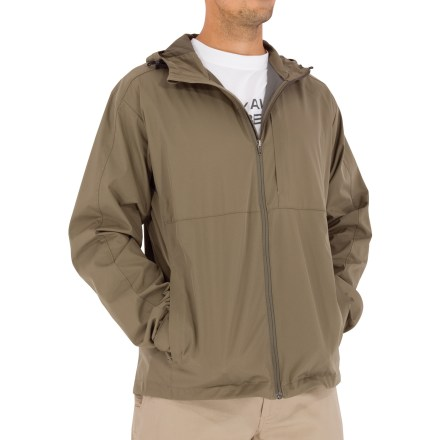 Entertainment The Royal Robbins Windjammer jacket offers wind- and water-resistant protection in a casual, easily packable style. Tightly-woven microfiber fabric is smooth, durable and wrinkle-resistant. Durable Water Resistant finish helps shed rain and stains. Adjustable hood protects you from the elements. Full-length front zipper features an inside draft flap; chin guard protects from abrasion. Drawcord hem and rip-and-stick cuff tabs seal in warmth. Seams are moved off the shoulders for a comfortable fit. Includes zippered hand and chest pockets; left hand pocket doubles as a stuff sack. Fabric provides UPF 40+ sun protection, shielding skin from harmful ultraviolet rays. Closeout. - $33.73