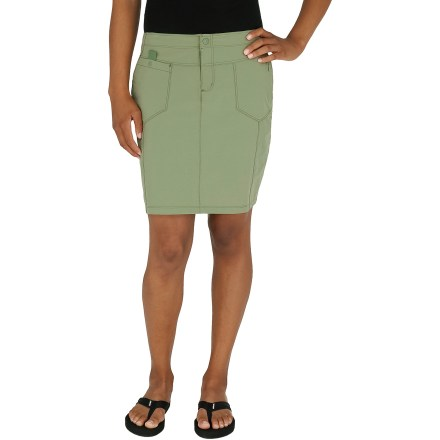 Entertainment The Terra skirt by Royal Robbins is made with a wrinkle-resistant stretch fabric that stays comfortable throughout the day. Durable, quick-drying, moisture-wicking ripstop nylon is enhanced with spandex for a hint of stretch. Fabric provides UPF 50+ sun protection, shielding skin from harmful ultraviolet rays. Plenty of pockets for on-the-go storage: zip-close front pocket, stash pocket with rip-and-stick closure, cell phone pocket and center back zip-close pocket. Terra skirt has a slim fit to minimize bulkiness. Closeout. - $19.73
