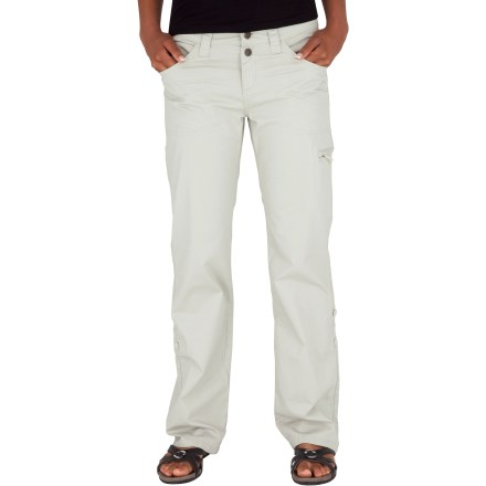 Camp and Hike The Royal Robbins Sidney Roll Up pants offer a clean style that looks great no matter the occasion. Pant legs can be rolled and buttoned up for a shorter style. Cotton canvas takes abuse and only gets more comfortable with age. Touch of spandex provides comfortable stretch and fit. Offers excellent protection from the sun: Ultraviolet Protection Factor (UPF) of 50+. Boot-cut design; wide, mid-rise waistband sports belt loops and zipper fly. Pants are prewashed so you don't have to worry about shrinkage. Royal Robbins Sidney Roll Up pants feature hand pockets, a coin pocket and 2 back pockets with snap closures. Closeout. - $9.73
