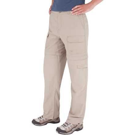 Camp and Hike The regular-length Royal Robbins Zip N' Go pants transition to shorts without effort, and are a great choice for 3-season hiking. Lightweight yet durable 3-ply Supplex(R) nylon dries quickly and is soft against your skin. Pant legs have button and loop adjustments at bottom. Once detached, leg sections store in convertible pocket stuff sack that attaches at belt loops for easy carrying. Gusseted crotch provides ample room for easy striding. Fabric provides UPF 50+ sun protection, shielding skin from harmful ultraviolet rays. 2 hand pockets, 2 front cargo pockets and single back flap pocket with rip-and-stick closures, and 1 zippered cargo pocket. Closeout. - $32.83