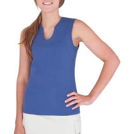 Surf The Royal Robbins Kick Back tank top is ready for warm-weather fun. Cotton fabric is naturally soft, breathable and comfortable. Notched neckline for a feminine fit. Closeout. - $3.73