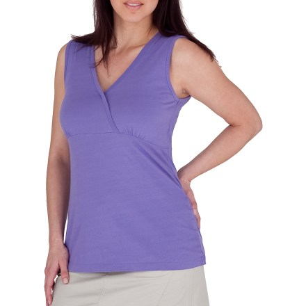 Surf The Royal Robbins Tadmor Tank top goes well with sunshine and days outside. Made from certified 100% organic cotton for breathable comfort and easy care. Crossover neckline looks great. Closeout. - $5.73