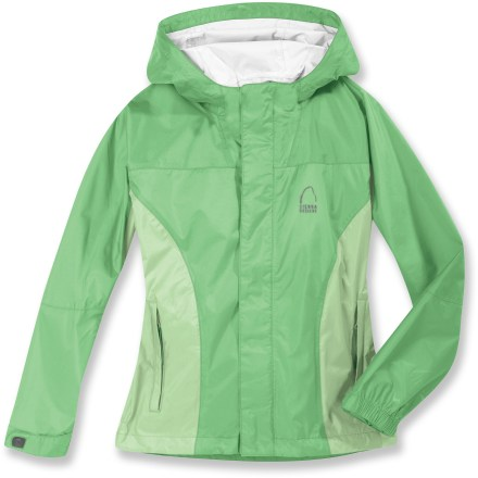 Entertainment The Sierra Designs Hurricane rain jacket keeps young adventurers happy and dry when the damp weather arrives. Ripstop nylon fabric features Hurricane 2-layer waterproof breathable laminate construction for superior weather protection. PVC-free seam taping ensures complete protection. Stormflap covers the water-resistant front zipper. Attached hood features encased elastic on both sides for a snug fit. Adjustable cuffs help seal out the elements. Sierra Designs Hurricane rain jacket features 2 zippered hand pockets and 1 interior media pocket with earphones port. Closeout. - $24.83