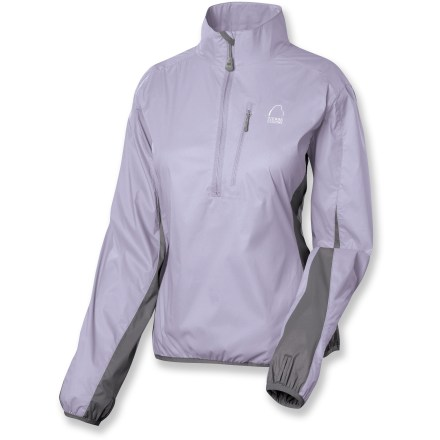 The Sierra Designs Numbskull Pullover jacket is a lightweight barrier perfect for walking, jogging and hikes. Lightweight stretch polyester fabric keeps the wind at bay so you stay warm. Half-zip front for easy ventilation. Elastic cuffs with thumbholes keep sleeves in place. Elastic hem. Closeout. - $58.73