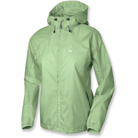 The Sierra Designs Microlight jacket provides wind protection and water resistance on or off the trail-and packs up small in its own stuff sack. Polyester fabric with a polyurethane coating offers ample water resistance and wind blocking at a great value. Features an attached hood and a single-hand adjustable drawcord hem. Seams are not sealed; jacket offers water resistance in light rain for a short period of time. Closeout. - $19.73
