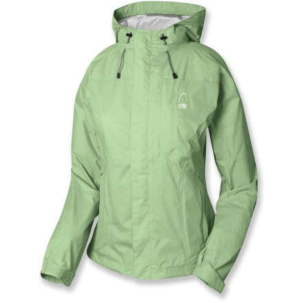 The women's Sierra Designs Hurricane rain jacket offers backpackers lightweight protection. Ripstop nylon features a 2-layer waterproof breathable laminate; polyurethane finish reduces interior condensation. Full, PVC-free seam taping ensures complete protection. Double stormflaps surround full-length front zipper; underarm zippers allow airflow as you warm up. Helmet-compatible hood keeps wayward snowflakes out of your eyes. Drawcord hem and adjustable cuffs seal out the elements. Sierra Designs Hurricane jacket includes a stuff sack for packing. Closeout. - $29.83