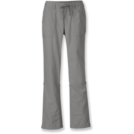 Camp and Hike Head outside for a full day of adventure with The North Face Horizon Tempest pants. Short inseam fits petite women and lighweight, durable nylon handles everything the day might dish out. Abrasion-resistant, lightweight nylon dries quickly and provides great coverage without being heavy or bulky. Integrated UPF 50+ sun protection continuously guards against harmful ultraviolet rays. Internal drawcord with button-fly supplies secure, personalized fit. 2 front hand pockets; 2 back patch pockets; zip pocket on right front secures an ID or key. Pant legs roll up and secure at sides for capri-length pants when you need to wade through a stream or just want to cool off. The North Face Horizon pants with short inseam feature a gusseted crotch for freedom of motion. Relaxed fit isn't too tight or too loose. - $39.93
