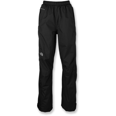 Stay dry during a sudden shower with the North Face Venture Rain pants for women; lightweight and compact material makes for easy stowing in a pack and when that shower hits you'll be totally ready. The Venture rain pants are a staple that every outdoor enthusiast will appreciate. HyVent(R) 2.5-layer fabric provides waterproof, highly breathable protection; a tri-component, multi-layer inner coating channels moisture outward away from body. HyVent is lightweight and packable, moves easily over layers and is more breathable than unlined, treated fabrics. All seams are sealed for complete protection. Personalize the fit with the elastic drawcord waist. 2 zip hand pockets; Venture pants roll up small and stow inside 1 hand pocket for easy transport. - $80.00