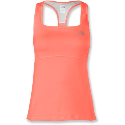 Fitness The North Face Eat My Dust Sport tank top has a high-support internal bra and moisture-wicking fabric to keep you comfortable as you push through your training routine. Vaporwick(R) polyester fabric seriously keeps up with hard-working pores,moving sweat from your skin to the fabric's outer face for quick evaporation. Mesh panels aligned in high-perspiration areas vent excess heat. Expertly constructed, high-impact internal bra features mesh racer-back straps, a brushed elastic band and two layers of fabric for enhanced modesty. 2 discreet pockets in the straps of the tank top store small items such as an energy gel or your debit card; moisture barrier in pocket protects contents. The North Face Eat My Dust Sport tank top has reflective logos for increased visibility in low light. - $37.93