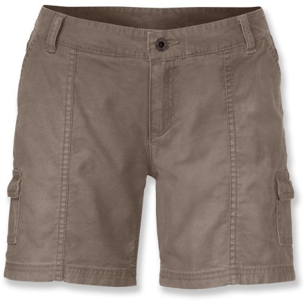 Camp and Hike The North Face Amanda shorts will gladly accompany you on any outdoor excursion. Comfortable and lightweight with a touch of weather protection, they're ready for whatever surprises come your way. Breathable cotton fabric with a hint of stretch feels soft next to skin; Durable Water Repellent finish causes water to bead up and roll off, keeping you dry in light rain. Critical seams on the Amanda shorts are reinforced for increased durability. 2 slash hand pockets provide easy storage; 2 mini cargo pockets secure small essentials; 2 rear patch pockets provide additional stowage. - $30.93