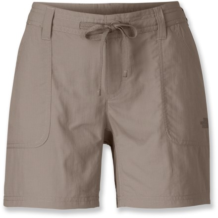 Camp and Hike Lightweight, durable and comfortable, the Becca Horizon shorts from The North Face are sure to be the first thing you grab when packing for your next warm-weather trip. Abrasion-resistant, lightweight nylon dries quickly, allowing you to wash and wear again in no time. Integrated UPF 30 sun protection continuously guards against harmful ultraviolet rays so your skin stays safe no matter how long your day lasts. Button-fly with snap closure and drawcord provides a secure, personalized fit. 2 front pockets provide easy storage; 2 back patch pockets add extra storage for small items. Interior mesh stow pocket with rip-and-stick closure discreetly secures wallet, passport and other essentials while traveling. The North Face Becca Horizon shorts feature a gusseted crotch for complete freedom of motion. Relaxed fit isn't too tight or too loose. - $30.93