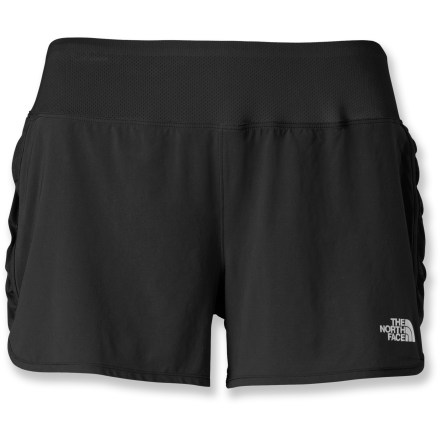 Fitness Packed with high-performance features, The North Face Eat My Dust shorts make tough training sessions just a bit more comfortable. VaporWick(R) stretch woven fabric is soft, lightweight and smooth to the touch, and both the liner shorts and the outer fabric wick moisture and dry quickly. Fabric is treated with a Durable Water Repellent finish that causes moisture to bead up and roll off. Contoured mesh waistband creates a comfortable fit. Carry a small item, such as a key or energy gel, in the rear zippered pocket. The North Face Eat My Dust shorts increase visibility in dim light thanks to reflective logos. - $30.93