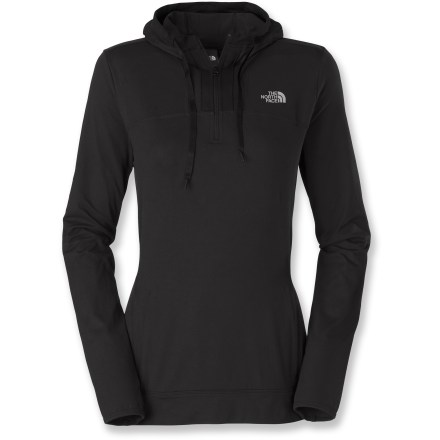 The Cypress half-zip hoodie from The North Face makes layering up for outdoor excursions a little easier. Lightweight with great stretch and easy movement, it's sure to be a new favorite in no time. Knit polyester with 4-way stretch feels soft and smooth against skin and dries quickly, keeping you cool and comfortable on the trail, at the crag or anywhere in between. Integrated UPF 50+ sun protection continuously guards against harmful ultraviolet rays, keeping your skin safe no matter how long your day lasts. Fitted hood features a drawstring for customized fit and contrasting print trim for a touch of style. Thumbholes keep sleeves in place and add extra warmth around hands and wrists; underarm gussets ensure complete range of motion. The North Face Cypress half-zip hoodie secures small valuables thanks to a kangaroo pocket; 2 zippered entrances gives the hoodie a 2 pocket look. - $75.00
