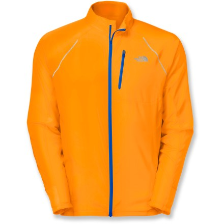 Fitness Lightweight, comfortable and highly ventilated, The North Face Better Than Naked jacket helps you focus on the run. Lightweight ripstop polyester is used on panels on the front and back to create a barrier against wind; polyester and mesh maximize breathability in remainder of jacket. Durable Water Repellent finish helps light precipitation bead up and roll off. Panels feature FlashDry(TM) fibers to dramatically improve dry time and breathability. Perforated ventilation areas are positioned to reduce clamminess and vent warm air like a chimney. Zippered security pocket stows small items and works with your media player; rear pocket is easy to access with either hand. Reflective highlights are visible from any angle and increase your visibility in dim light. Dropped tail extends rear coverage. The North Face Better Than Naked jacket weighs 6.35 oz. - $130.00
