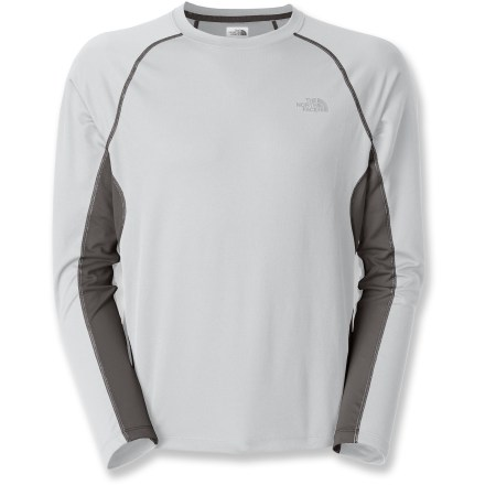 Fitness With moisture-wicking FlashDry(TM) fibers, The North Face GTD long-sleeve shirt boosts your comfort during cool-weather runs and fast workouts. FlashDry fibers dramatically improve dry time and breathability. Made of crushed coconut shells and crushed volcanic rock, the FlashDry fabric additive leads to faster dry times and will not wash out. Polyester wicks away sweat; natural particles in fabric resist odors. Mesh panels at sides and arms promote cooling airflow where needed. Reflective logos on The North Face GTD long-sleeve shirt help keep you visible; fabric offers a UV-protective rating of UPF 15. - $30.93