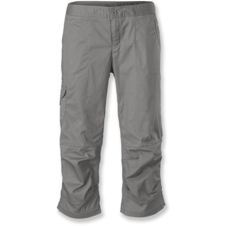 Climbing Great for everyday wear but equipped for casual climbing as well, The North Face Bishop capri pants can handle an afternoon at the crag as well as your busy day-to-day schedule. Cotton fabric with a touch of stretch is soft next to skin and needs no special care. Integrated UPF 50+ sun protection continuously guards against harmful ultraviolet rays. Internal drawcord allows secure, customized fit; cinching at bottom cuffs allows you to secure the legs in place. Articulated knees and gusseted crotch ensure complete range of motion for climbing and other active pursuits. 2 deep front pockets, 2 rear patch pockets, additional cargo pocket on right leg. The North Face Bishop capri pants feature an active fit that's not too tight or too loose. - $65.00