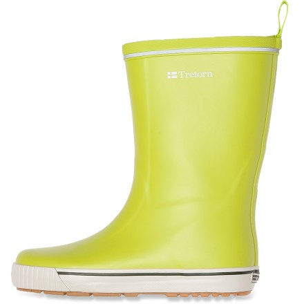 Originally made for sailing but great for getting through rainy days, the Tretorn Skerry rain boots deliver superb waterproof protection and brightly colored style. Mid-calf height, natural-rubber uppers form a tough waterproof barrier from slush and puddles; natural rubber construction means they're PVC-free. Nylon loop at top of boots gives you leverage to slip feet comfortably inside and tuck in your pants. Polyester microfleece linings are soft to the touch, wick moisture to regulate foot temperature and increase insulation in cold weather. Rubber midsoles absorb shock, cushion feet and provide gentle support. Tretorn Skerry rain boots feature gum rubber outsoles with a versatile tread to provide traction on a variety of surfaces. Closeout. - $28.73