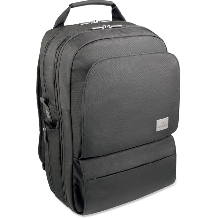 Entertainment With modern style and organization, the spacious Victorinox Associate daypack is designed to handle both a laptop and an iPad(R) or Kindle. Main pocket includes a 17 in. laptop compartment, 10 in. portable electronic-device pocket, a deep zippered pocket, a padded peripherals pocket and 4 mesh pockets. Front organizational panel pocket contains a deep zippered pocket, stretch-mesh pocket, secure flap-close pocket and a key fob. Exterior organization includes a hidden back panel zip compartment, a front zippered pocket and multipurpose, zip-close side pockets ideal for a water bottle and umbrella. Rear strap slides over wheeled luggage handles for consolidated travel. Victorinox Associate daypack has a padded back panel and adjustable shoulder straps for maximum comfort and a padded haul handle. - $200.00