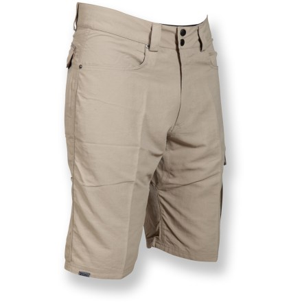 "Fitness Looking for bike shorts that don't look like bike shorts? The Zoic Grove shorts feature cargo pockets and a longer inseam length to keep things casual, while the liner shorts make these bike-friendly. Removable liner shorts have a 9"" inseam and a padded chamois; leg grippers keep liner shorts from riding up. 2 front hand pockets and 2 back pockets, one cargo pocket; tech pocket for your cell phone or music player has a headphone cord grommet and loop. Gusseted crotch provides a great range of motion and also eliminates seat hang-ups. - $79.00"