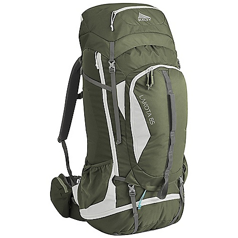 Camp and Hike Free Shipping. Kelty Lakota 85 Pack DECENT FEATURES of the Kelty Lakota 85 Pack Top loading Sleeping bag compartment Side access into pack Hydration compatible Lower compression and pad straps Pack cover included Ice-axe loop Hipbelt pocket Large front pocket with organization LightBeam single aluminum stay Dynamic AirFlow back panel AirMesh shoulder straps, waist belt, and lumbar Dual density foam waist belt Hipbelt stabilizer straps Scherer Cinch (US Pat#5,465,886) Padded shoulder straps Load-lifter/stabilizer straps Sternum strap The SPECS Weight: 3 lbs 15 oz / 1.7 kg Suspenstion: Lightbeam Fixed Suspension System Body: 420D Polyester Ball Shadow Reinforcement: 450D Polyester Oxford The SPECS for S/M Volume: 5000 cubic inches / 82 liter Dimension: 32 x 11 x 15in. / 81 x 28 x 38 cm Torso Fit Range: 14.5 - 18.5in. / 37 - 47 cm The SPECS for M/L Volume: 5100 cubic inches / 84 liter Dimension: 34 x 12 x 15in. / 86 x 30 x 38 cm Torso Fit Range: 17.5 - 21in. / 44 - 53 cm - $189.95