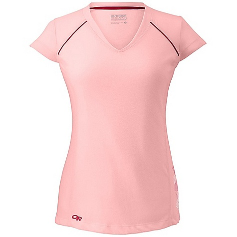 Outdoor Research Women's Essence SS Tee DECENT FEATURES of the Outdoor Research Women's Essence Short Sleeve Tee Quick Drying Wicking FreshGuard Odor Neutralization The SPECS Weight: (M): 3.6 oz / 103 g Fit: Trim Drirelease Wool 88% polyester, 12% merino wool fabric This product can only be shipped within the United States. Please don't hate us. - $48.95