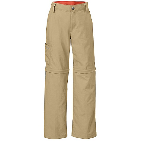 The North Face Boys' Voyance Convertible Pant DECENT FEATURES of The North Face Boys' Voyance Convertible Pant Durable, lightweight, quick-drying fabric Internal adjustable elasticized waistband with zip-fly and belt loops Slash hand pockets Reflective piping at cargo pocket EZ Grow function Zip-off legs Ultraviolet Protection Factor (UPF) 50 Reflective clip label The SPECS Average Weight: 9 oz / 250 g Inseam: 26in. ungrown, 28in. grown, short: 8.5in. 70D x 160D 119 g/m2 100% nylon ripstop with DWR This product can only be shipped within the United States. Please don't hate us. - $44.95