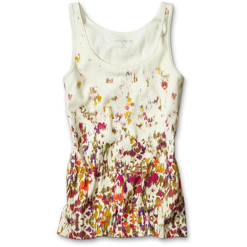 "Surf Eddie Bauer Flower Print Favorite Tank Top - A seasonal spin on our favorite ribbed 2 x 2 tank. Great on its own or layered under your favorite shirts and cardigans. Shaped fit. Length: 25.75"". Imported. - $11.99"