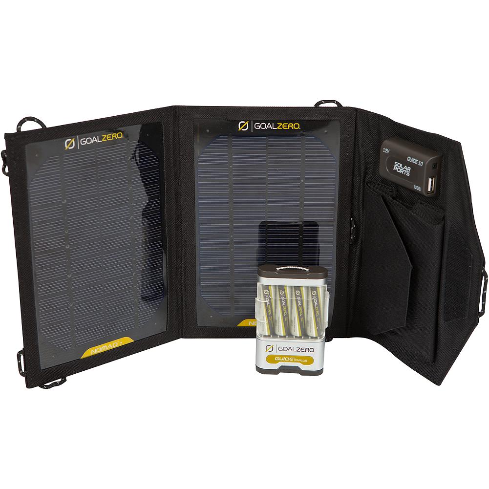Entertainment Goal Zero Guide 10 Solar Charger Adventure Kit - An ultra-lightweight USB solar charging system that fits in your backpack. Use it as a single power pack to power your device or as a power source to recharge batteries for use in AA or AAA battery powered devices. Imported. - $139.95