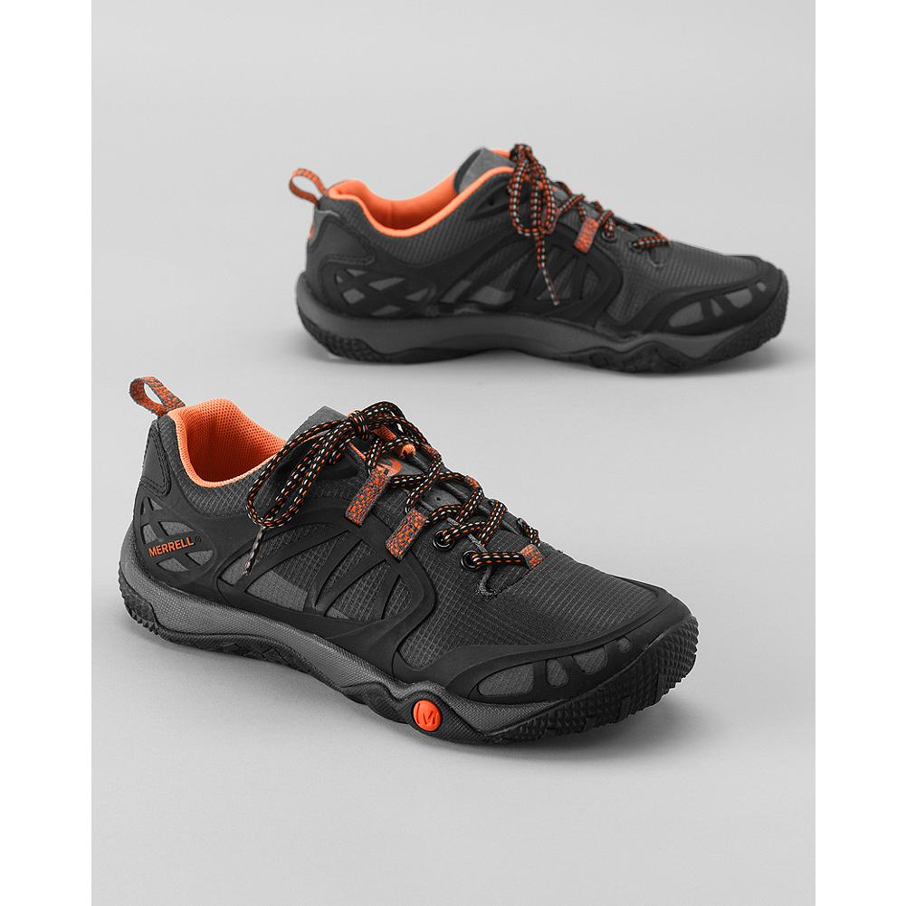 Camp and Hike Merrell Proterra VIM Sport Shoes - These breathable, minimalist hikers will give you greater ground sensitivity, control, and stability during any outdoor adventure. The Merrell Stratafuse nylon upper gives these sport shoes a glove-like fit and lightweight durability. - $79.99