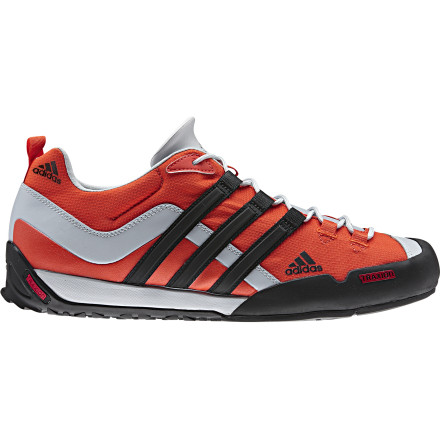 Climbing The Adidas Outdoor Terrex Swift Solo Approach Shoe features a durable, grippy toe for sure-footed scrambling and a shock-absorbing AdiPrene insert for impact protection. A breathable mesh upper helps prevent swamp-foot, and the asymmetrical heel loops allow easy attachment to your backpack or harness. - $99.95