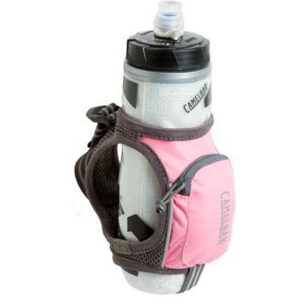 Camp and Hike Camelbaks 21oz Quick Grip Water Bottle with Podium ChillJacket allows you to keep your hydration close at handin your hand, as a matter of fact. The hand carry grip includes a zip pocket for your cash and keys, as well as reflective details to make you more visible to motorists. The squeeze bottle features a double-wall construction that keeps your water cool for hours. When its time to hydrate, the self-sealing JetValve that flows easily and seals automatically so you dont waste one precious drop; the bottles BPA-free polypropylene doesnt have that nasty plastic taste common to so many squeeze water bottles. - $10.79
