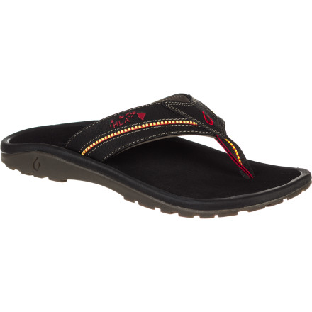 Surf If the Olukai Men's Kia'i II Sandal withstands wear and tear from members of the Hawaiian Lifeguard Association (HLA), it will undoubtedly endure your beach-going fun. But go ahead,  put this sandal to the test; its durable, high-quality construction, top-notch materials, a lugged rubber sole can take it. And its water-resistant synthetic leather strap, soft, quick-drying Lycra lining, and neoprene backer mean it's not just tough but all-day, everyday comfortable. Island-inspired details give it earthy beauty, and a portion of the proceeds goes to the HLA to give you beach-loving warm fuzzies all summer long. - $70.00