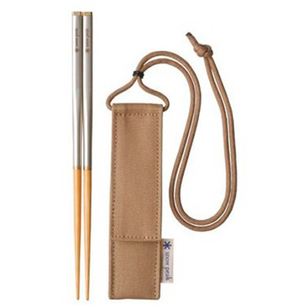 Camp and Hike You're the classiest guy or gal in camp when you pull out the Snow Peak Bamboo Carry-On Chopsticks when it's time to chow down. Super-compact when stowed in its storage pouch, the chopstick coverts to a full-size set of chopsticks in seconds. To use, simply unscrew the brass cap on the end of the stainless steel grip, pull out the smooth polished bamboo tip, attach the tip to the grip, and you're in business. - $39.95