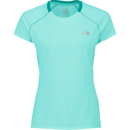 Fitness You could run in a cotton T-Shirt, but you don't really feel like soaking in your own sweat and then getting chilled. The North Face Women's GTD Crew Short-Sleeve Shirt uses high-tech fabrics to quickly move sweat away from your skin so you stay dry. - $18.98