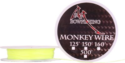 Hunting Theres no time for monkey business when it comes to reliable, strong bowfishing line. This abrasion-resistant, high-visibility yellow wire is rated at 200-lb. tensile strength and fashioned from the same material as bulletproof vests. Its small diameter means you get 50% more line on your reel and faster line deployment. For spinning reels only. Color: Yellow. Type: Bowfishing Line & Guides. - $15.99