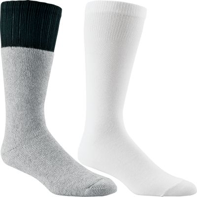 These wool boot socks are made of 75/15/8/2 acrylic/wool/nylon/polyester full-cushion terry for warmth. They wick moisture away to keep feet dry. Nonravel welt tops stay up for comfort. The liner socks are made of 90/5/5 polyester/nylon/Lycra. They also have moisture-wicking properties and nonavel tops. Plus, they have an antimicrobial finish to help fight odor. Made in USA.Weight wool sock: 4.18 ounce.Height wool sock: 13.Weight liner sock: 1.14 ounce.Height liner sock: 11. Sizes: M, L, XL.Color: Gray/White. - $6.88