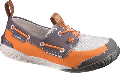 Get the look of boating shoes with the reliable comfort and traction features Merrell is known for. Pull-on tabs on the heels and tongues make these easy to slip on for your on-the-go kid while the single elastic cord laced through the shoes entire rims help keep them on. Barefoot-style 0mm heel-to-ball drop keeps your childs feet better connected to the ground while flexible TC-1 rubber Vibram outsoles provide excellent traction. The polyester uppers feature breathable mesh sections treated with Aegis antimicrobial solution for odor control. Comfy integrated EVA footbeds are also treated with Aegis. Shoes can be machine washed when needed. Imported.Kids whole sizes: 1-6 medium width.Colors: Denim, Grey/Orange, Pink/Purple, Seaport. Type: Slip-Ons. Size: 4. Shoe Width: MEDIUM. Color: Denim. Size 4. Width Medium. Color Denim. - $44.88