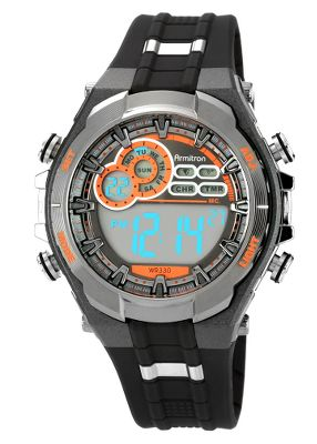 Perfect for workouts, travelling or everyday wear, this rugged watch features a digital backlit display with everything your active lifestyle demands. Day or night, the oversized and easy-to-read digital display provides time, day, date, alarm, chrono and a timer function. The hourly chime option can be used to time your runs, or it can keep you ready for your next appointment. The durable black resin strap, stainless steel case, buckle and bezel offer a sleek look. Water-resistant to 100 meters. Precision quartz movement. Case diameter: 48.7mm. Color: Black. Gender: Male. Age Group: Adult. - $30.00