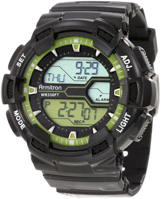 The rugged resin case and strap on this Armitron Digital World-Time Sport Chronograph Watch stands up to heavy abuse. Keep your active lifestyle on track with a digital alarm, stopwatch, dual time, lap timer, chronograph, countdown timer, world time and military time. Water-resistant to 100 meters. Case diameter:48mm. Colors: Black, Lime Green. Color: Black. Gender: Male. Age Group: Adult. Type: Sports Watches. - $29.99