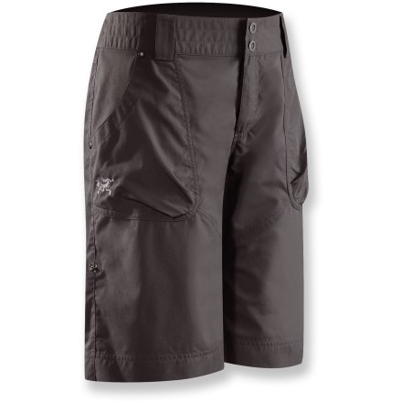 Camp and Hike When you need maximum comfort but a little more length, the Arc'teryx Rana Long shorts have you covered-literally. The 12 in. inseam offers considerable length for increased protection. A blend of cotton and nylon creates soft, durable canvas that is breathable and soft to the touch. For increased versatility, the hem rolls up and secures with snaps for a shorter length when you need it. Riveted stress points increase durability; wide waistband with zip fly and snap closure adds comfort. Arc'teryx Rana Long shorts feature front pockets with pleats for extra volume and back pockets for easy storage. - $85.00