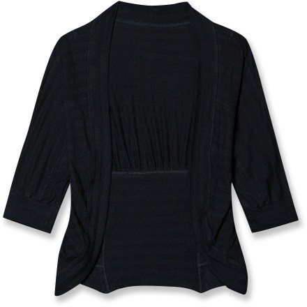 Entertainment Perfect for layering over a light summer dress or tank top, the endlessly versatile Aventura Julian cardigan sweater adds a polished finish to any outfit. Cotton jersey fabric is soft and breathable, and needs no special care. Alternating sheer and opaque horizontal black stripes add detail without being distracting. Cropped length, 3/4-sleeves and gentle gathers at the back help raise the Julian cardigan above the rest. - $37.93