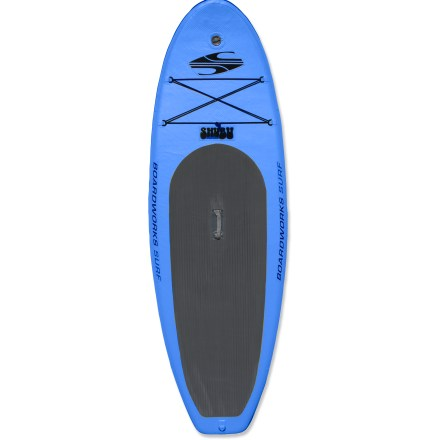 Surf Perfect for travel and compact storage, the Boardworks Surf SHUBU Wide 9 ft. 2 in. inflatable stand up paddleboard is ready for the water. High air pressure and drop-stitch construction creates a rigid hull without the use of frame parts; the performance is suited to surf, flatwater and whitewater. PVC-coated, high-denier polyester stands up to heavy use. 9 ft. 2 in. length turns responsively and 34 in. width offers stability that's extremely friendly to beginners. Deck pad reduces foot fatigue and provides a soft surface when kneeling on board. Center fin with 2 side bite fins promote stability; 9 in. center fin is removable if you want to paddle in skinny water. Forward deck D-rings and bungee straps secure day-tripping accessories. Boardworks Surf SHUBU Wide paddleboard packs into a durable backpack and includes a high-pressure, 2-way air pump with gauge, valve adaptors and repair kit. - $878.93