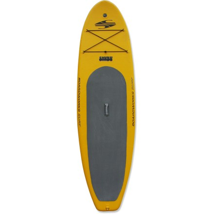 Surf Tough and travel ready, the Boardworks Surf SHUBU Wide 10 ft. 2 in. inflatable stand up paddleboard goes where other boards cannot. Slightly larger than its 9 ft. 2 in. counterpart, the SHUBU 10 ft. 2 in. board is a great choice for large paddlers. 10 ft. 2 in. length manuevers well in waves and tracks well on flatwater, and 34 in. width offers stability that's extremely friendly to beginners. High air pressure and drop-stitch construction create a rigid hull without the use of frame parts; the performance is suited to surf, flatwater and whitewater. PVC-coated, high-denier polyester stands up to heavy use. Deck pad reduces foot fatigue and provides a soft surface when kneeling on board. Center fin with 2 side bite fins promote stability; 9 in. center fin is removable if you want to paddle in skinny water. Forward deck D-rings and bungee straps secure day-tripping accessories. Boardworks Surf SHUBU Wide paddleboard packs into a durable backpack and includes a high-pressure, 2-way air pump with gauge, valve adaptors and repair kit. - $1,159.00