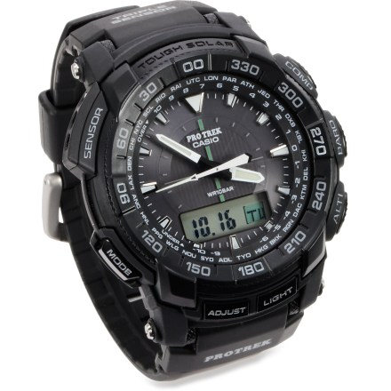 Camp and Hike The solar-powered, triple-sensor Casio ProTrek PRG550-1A1CR multifunction watch sports easy-to-use features, including a digital compass, altimeter, barometer and thermometer. - $254.93