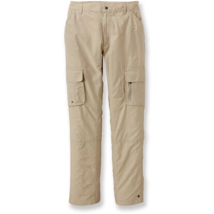 Camp and Hike The Columbia Kick Fix pants are great for a variety of adventures, especially when you need lots of pockets to keep small items or gadgets close at hand. Durable, lightweight ripstop fabric. Front pockets with mesh lining; cargo pockets with mesh lining and drainage grommets; extra zip pocket on left cargo pocket; 2 back pockets, 1 zippered. The Columbia Kick Fix pants have fabric that provides UPF 15 sun protection, shielding skin from harmful ultraviolet rays. Closeout. - $18.73