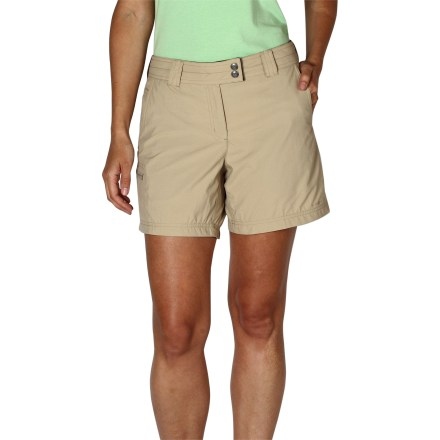Camp and Hike Perfect for days that take you in a million different directions, the ExOfficio Nomad(TM) shorts help keep you comfortable when you need to cover a lot of ground. Lightweight, breathable nylon fabric resists rain and stains and dries quickly, making the Nomad shorts an excellent choice for hiking, backpacking and travel. Integrated UPF 30 sun protection continuously guards against harmful ultraviolet rays, keeping your skin safe no matter how long your day lasts. Tricot-lined waistband feels soft next to skin. ExOfficio Nomad shorts feature hand pockets and a zippered side pocket for storing small essentials. - $37.93