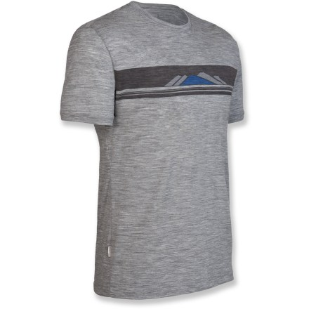 Soft as cotton but much more breathable and designed for everyday wear, this Icebreaker Tech T Lite Alps T-shirt can be worn by itself in warm weather or with layers in cool weather. Merino wool wicks away moisture and breathes to regulate temperature for outstanding comfort in a variety of conditions; it's non-irritating and resists odors naturally. Fabric provides UPF 50+ sun protection, shielding skin from harmful ultraviolet rays. Machine wash warm (inside out) with similar colors; do not use softener or bleach; line dry in shade (do not tumble dry); warm iron but do not iron labels; do not dry clean. Closeout. - $51.73