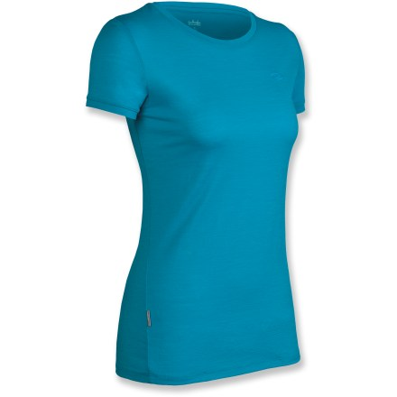 Soft as cotton but much more breathable and designed for everyday wear, this women's Icebreaker Tech T Lite T-shirt can be worn by itself in warm weather or with layers in cool weather. Merino wool wicks away moisture and breathes to regulate temperature for outstanding comfort in a variety of conditions; it's non-irritating and resists odors naturally. Fabric provides UPF 50+ sun protection, shielding skin from harmful ultraviolet rays. Machine wash warm (inside out) with similar colors; do not use softener or bleach; line dry in shade (do not tumble dry); warm iron but do not iron labels; do not dry clean. Closeout. - $44.73