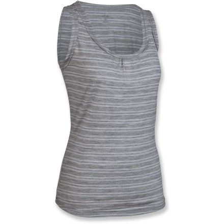 Surf The Icebreaker Retreat tank top features supremely soft, lightweight merino wool. Wear it as an under layer or on its own in the heat of the summer. Merino wool wicks away moisture and breathes to regulate temperature for outstanding comfort in a variety of conditions; it's non-irritating and resists odors naturally. Fabric provides UPF 50+ sun protection, shielding skin from harmful ultraviolet rays. Gathered detail at center front. Raw edge detail at neckline, armholes and hem. Machine wash warm with similar colors; do not use softener or bleach; line dry in the shade (do not tumble dry); warm iron but do not iron labels; do not dry-clean. Closeout. - $25.73