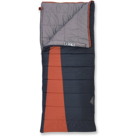 Camp and Hike The spacious Kelty Callisto 0degF sleeping bag is your perfect cold-weather companion for camping trips. Features 2-layer, offset quilt construction with CloudLoft(TM) insulation and a durable ripstop polyester shell. Comfortable polyester lining feels soft next to your skin. Differential cut allows insulation to loft fully for maximum warmth. Convenient full-length, 2-way locking zipper is backed by an antisnag draft tube to keep warmth in and cold drafts out. Internal loops accommodate attachment of a liner (sold separately) to increase bag's warmth. Unzip and open flat for use as a blanket; zip together with another bag to form a double-wide sleeping bag. Different width drawcords offer easy adjustments in the dark. Pad loops provide attachment points to keep your sleeping bag and pad together so you don't roll off onto the cold ground (straps and pad sold separately). Kelty Callisto 0degF sleeping bag includes a stuff sack. - $99.95